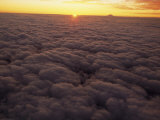 Clouds  Sunset and Mt Fuji from Airplane Window  Leaving Tokyo