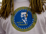 Dreadlocks Frame the T-Shirt of an Inaugural Obama Supporter