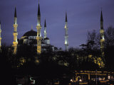 Mosque Lit Up at Dusk in Istanbul  Turkey