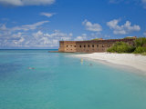 Tourists Snorkeling in Clear Water at the Beach at Dry Tortugas