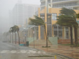 Hurricane Winds in Downtown Miami During Category 3 Hurricane Wilma