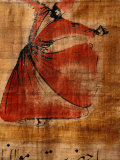 Beautiful Painting of a Whirling Dervish on Cloth with Arabic Script