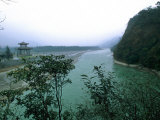 Minjiang River Flows Past Temple Near Chengdu  China