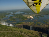 Ultralight Plane Flies Low over Victoria Falls