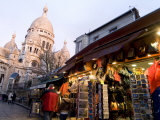 Street Scene in Montmartre with Sacre-Coeur in the Background