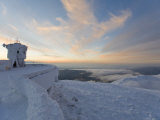 Everything on Summit of Mt Washington Covered in Rime Ice at Sunset