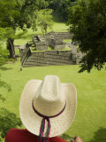 Honduras Copan  Mayan Ruins  Man with Hat over Looking at Ruins