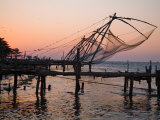 Silhouette of Fishing Nets on a Dock at Twilight