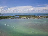 Aerial View of a Boating Channel Off the Florida Keys Seen from an Ultralite Airplane