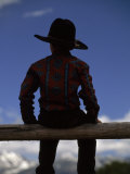 Rear View of a Boy in a Cowboy Hat Sitting on a Post