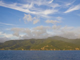 Lush  Tropical  Mountainous Island of Dominica Seen from Offshore