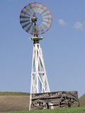 Windmill and Vintage Wooden Cart in Santa Ynez Valley