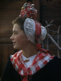 Woman Models a Traditional Bride's Headdress from Evolene
