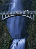 People on a Walking Bridge at Multnomah Falls
