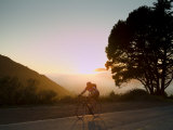 Cyclist at Sunset at the Marin Headlands