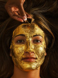 Woman Receiving a Gold Facial