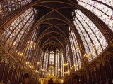 Tourists Viewing a Cathedral's Ceiling in Paris  France