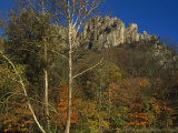 Seneca Rocks with Trees in Autumn Hues