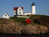 Scenic View of Nubble Light  on the Rocky Coast of Cape Neddick