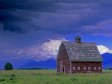 Bridger Mountains and an Old Barn and Pasture in Gallatin Valley