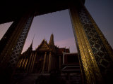 Looking from One Temple to Another at Sunset  Grand Palace  Bangkok