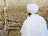 Jerusalem  Israel The Western Wall  Ethiopian Jew Prays