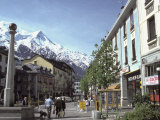 Town Center of Chamonix and Mont Blanc in the Background