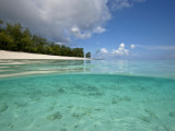 Split-Level View of Blue Water and White Sand in the Seychelles