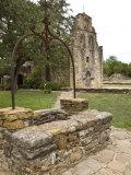 San Antonio  Texas  Mission Espada Old Well and Church Facade