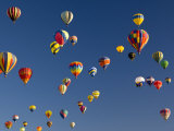 Many Vividly Colored Hot Air Balloons Float in the Sky