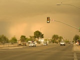 Large Sandstorm Approaches Town  Coloring the Sky over Tucson Brown