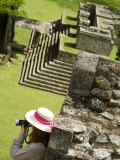Honduras  Copan  Mayan Ruins  Woman with Hat over Looking Ruins