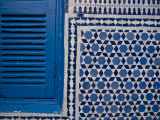 Synagogue&#39;s Blue and White Mosaic Stars and Blue Shutters