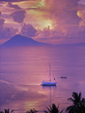 Sailboat Anchored in the Pacific Ocean at Sunset Off the Manado Coast