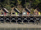 Tiny Cabins on a Pier at Halibut Cove in Alaska