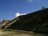 Tourists Climb Down Steps the Ruins of Monte Alban  a Zapotec Capital