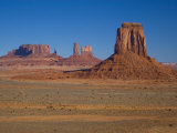 Desert Landscape with Rock Formations in Arizona's Monument Valley