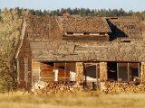 Remains of an Old Wood and Stone Farm House in Eastern Montana
