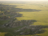 Green Hills and Buttes in Spring in the Badlands  North Dakota
