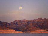 Full Moon at Sunrise Along the Coats and the Sierra De La Giganta