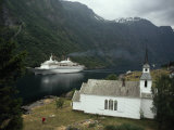 Passenger Ship Cruising the Fjords of Norway