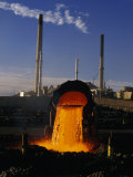 Slag Being Poured Off at a Copper Smelting Factory