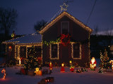 Home Decorated with Lights and Figures for Christmas