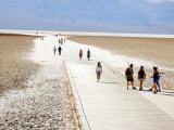 Tourists Walking on Badwater Basin in Death Valley National Park  Ca