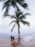 Photographer Lays on a Hammock Between Palm Trees