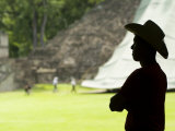 Honduras Copan  Mayan Ruins  Juan Carlos Calderon  with Hat over Looking Ruins
