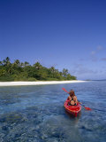 Young Woman Kayaking Among Tonga's Vavu's Islands