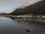 Boat Leaves Harbor on Baranof Island in Sitka
