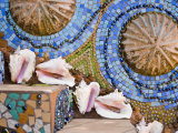 Conch Shells Decorate Steps Covered in a Colorful Mosaic