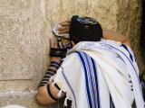 "Western Wall  Jewish Man Wearing a Prayer Shawl ""Talit"" and Phylacteries or Tefillin"